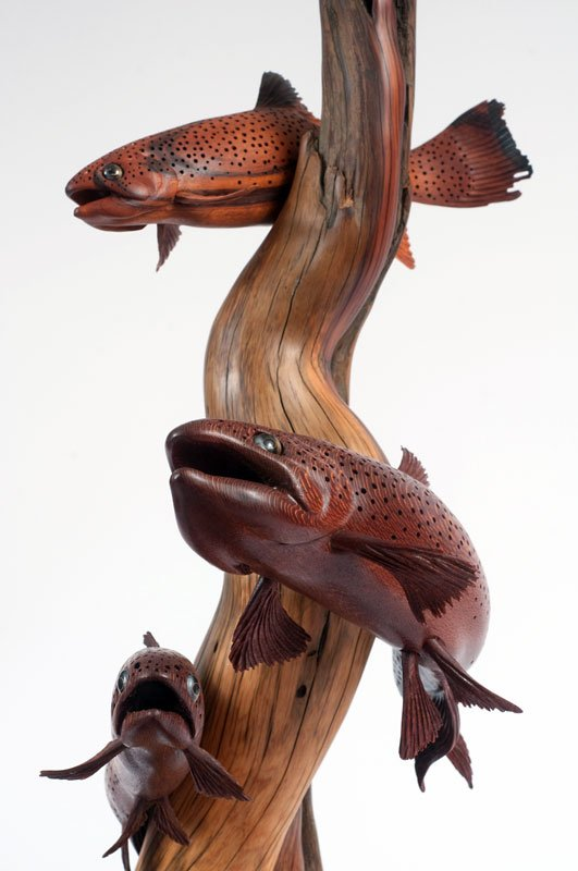 Tom dean art fish carvings and sculptures midcurrent for Fish wood carving