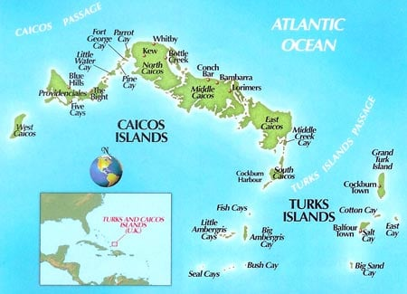 Turks and Caicos Fishing Map