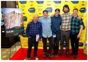 Yvon Chouinard, Mikal Jakubal, Ben Knight, Matt Stoecker, and Travis Rummel at the DamNation world premiere on 3/10/14. Photo by Jared Tennant.