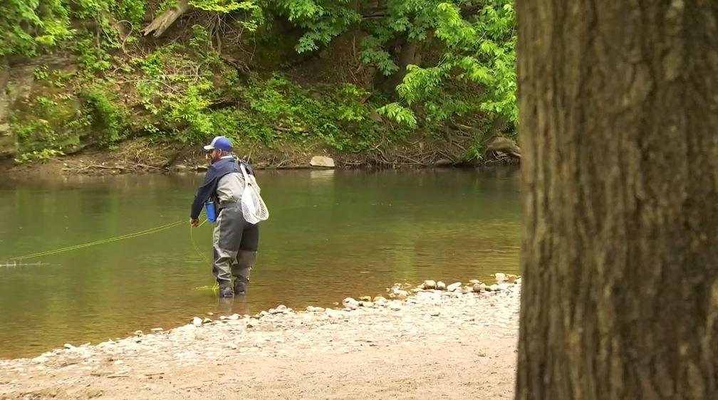 angler fishing alone